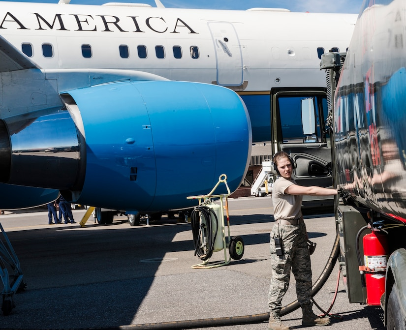 Airman 1st Class Desiree Mosher, 628th Logistics Readiness Squadron fuels distribution operator, refuels a C-32A at Joint Base Charleston, S.C., March 12, 2015. The Special Air Mission aircraft belongs to the 1st Airlift Squadron, 89th Airlift Wing at Joint Base Andrews, Md., and Charleston was a fuel stop during an off-station training mission. (U.S. Air Force photo by Senior Master Sgt. Kevin Wallace/RELEASED)