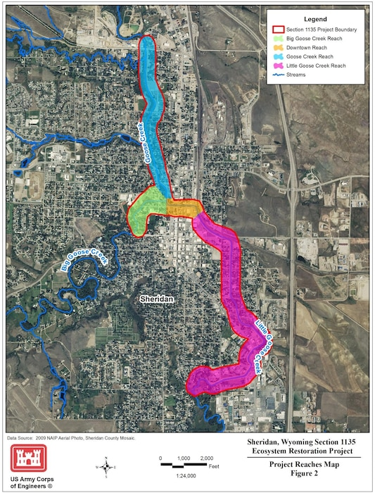 Outlines the four primary reaches that will be studied during the feasibility phase of the Sheridan, Wyoming, Section 1135 Ecosystem Restoration Project.