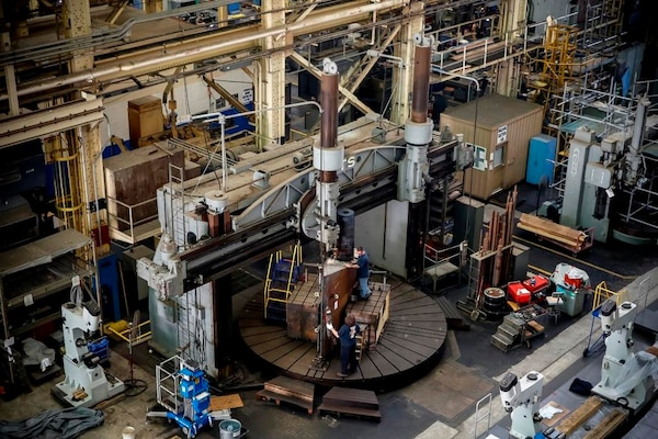 141217-N-MA158-057 NORFOLK, Virginia - Norfolk Naval Shipyard's (NNSY) Inside Machine Shop successfully performed its first rudder repair since 1991, on USS Albany (SSN 753), which is currently undergoing an Engineered Overhaul.
