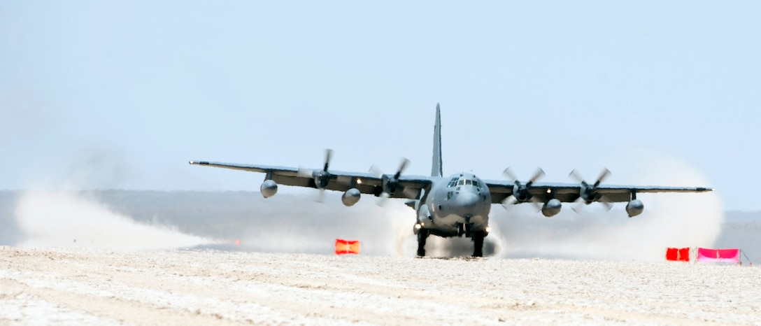 A HC-130 Combat King lands during a forward arming and refuel point exercise Mar 12, 2015, at Grand Bara, Djibouti. The Combat King provided several smaller airframes a refueling point to help extend their flying distance in preparation to any crisis response mission. (U.S. Air Force photo/Staff Sgt. Kevin Iinuma)