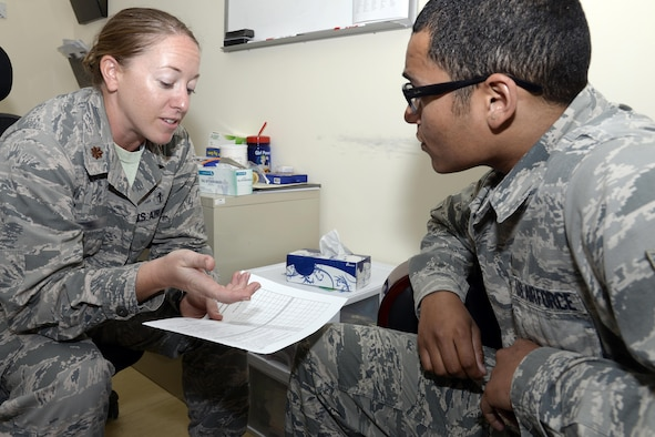 Maj. Jolyn, left, clinical health psychologist, and Staff Sgt. Ryan, mental health technician, demonstrate having a counseling session at an undisclosed location in Southwest Asia Mar. 16, 2015. The Mental Health Clinic is here to provide support and assistance to service members to ensure they are mentally ready to accomplish the mission. Jolyn is currently deployed from Wright Patterson Air Force Base, Ohio and is a native of Piedmont, Ariz. Ryan is currently deployed from Nellis AFB, Nev., and is a native of Pittsburgh, Pa. (U.S. Air Force photo/Tech. Sgt. Marie Brown)