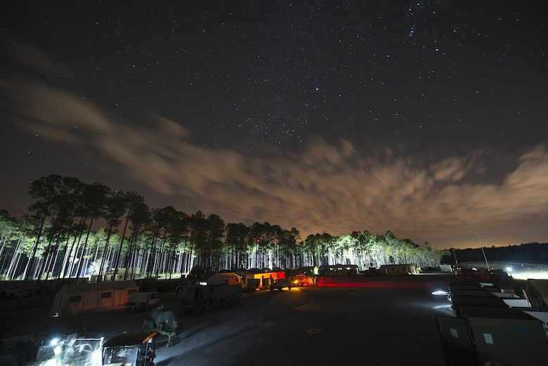 Airmen from the 824th Base Defense Squadron set up a forward operating base (FOB) during a mission readiness exercise March 10, 2015, at Camp Blanding, Fla. The squadron continuously operates 24 hours per day to ensure the FOB remains secure. (U.S. Air Force Photo/Senior Airman Ryan Callaghan)
