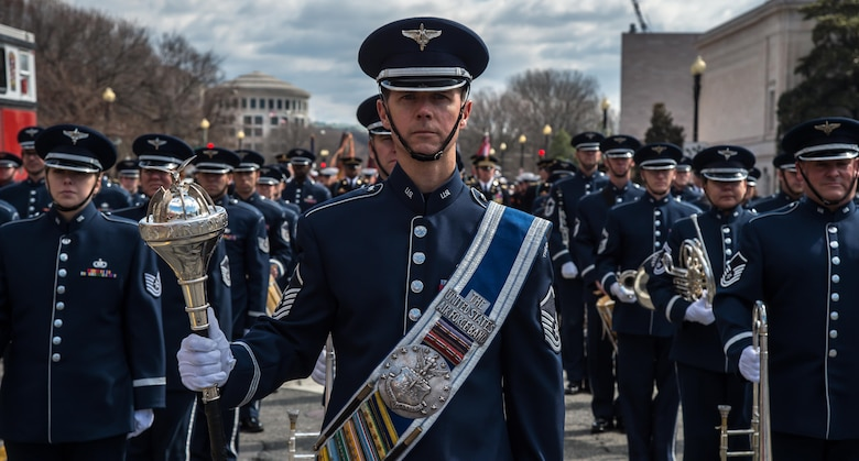 Master Sgt. Daniel Valadie prepares to march down Constitution Avenue as part of the 44th Annual St. Patrick's Parade March 15, 2015, in Washington, D.C. Valadie is a drum major. (U.S. Air Force photo/Airman 1st Class Philip Bryant)