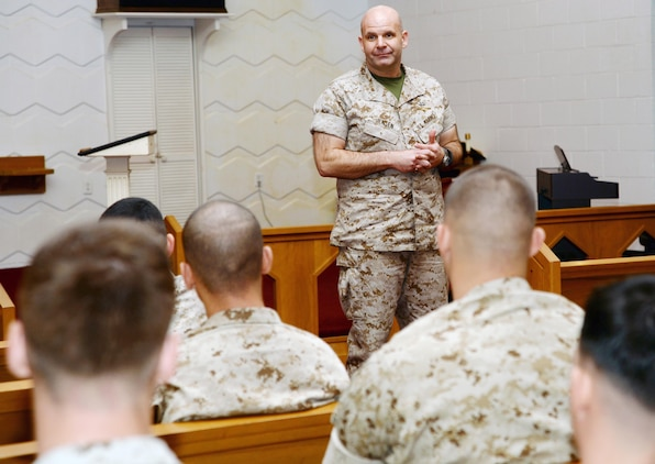 Col. Scott Jensen, the Marine Corps Sexual Assault Prevention and Response branch head, elicits feedback from junior Marines about sexual assault prevention during his visit to Marine Corps Logistics Base Albany, March 19.