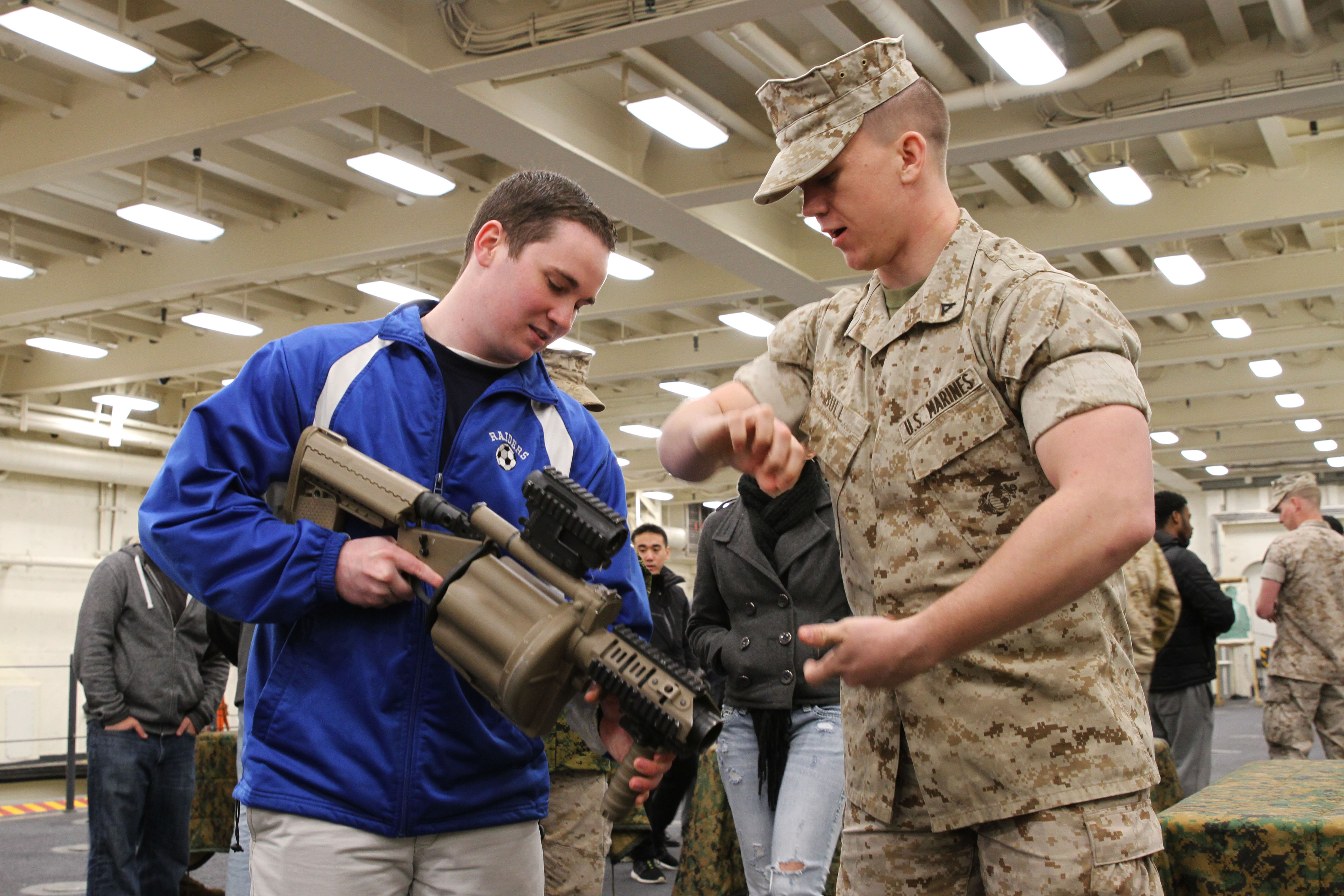 Boston future Marine recruits tour USS Arlington > 1st Marine ...