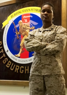 """PITTSBURGH--Sgt. Kemmala S. Kelsey reflects on her path in life that led her to become one of the """"Few and The Proud,"""" at Recruiting Substation Pittsburgh, March 17. """"Initially, I was overweight and I couldn't enlist,"""" said Kelsey, a supply clerk with Recruiting Station Pittsburgh. """"I took that as a personal challenge. So I said to myself, I'm going to lose this weight and I'm going to show the recruiters that I can do this."""" Kelsey, who lost the weight, had recently relocated from Jamaica to Chicago. She would eventually join the Marines and travel to Japan, Guam and Spain."""