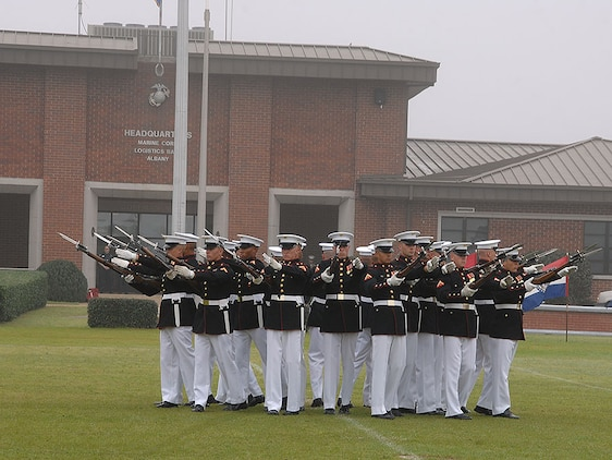 """The Marines from 8th & I, consisting of the Silent Drill Platoon, """"The Commandant's Own"""" Drum and Bugle Corps and the Marine Corps Color Guard, wowed Southwest Georgia again with their flawless performance and awe-inspiring showmanship on Schmid Field, Marine Corps Logistics Base Albany, March 20 in front of scores of spectators."""