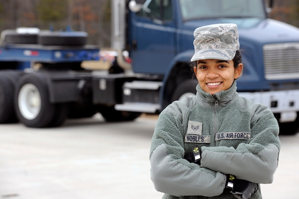 150319-Z-EZ686-515--Staff Sgt. Nobles, a member of the Michigan Air National Guard's 127th Logistics Readiness Squadron, stands next to the 40-foot trailer truck she drove carrying 15 pallets weighing 9,000 pounds of materials from Selfridge Air National Guard Base – her home base– to the Alpena Combat Readiness Training Center Mich., on March 19, 2015.  Nobles is one of nine Airman from the 127th LRS who recently supported the Michigan Army National Guard 's119th Field Artillery mobilization exercise. (U.S. Air National Guard photo by MSgt. David Kujawa/Released)