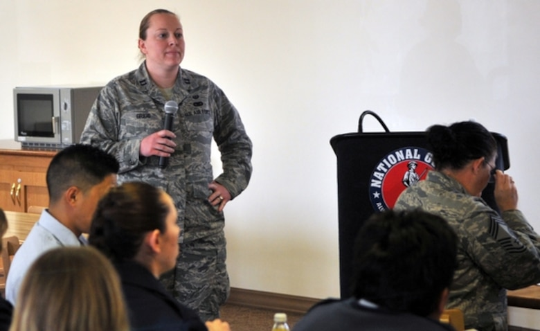 """Capt. Dana Grigg, Nevada National Guard assistant judge advocate, speaks March 7 during the """"Don't Say the 'F' Word"""" discussion at the Nevada Air National Guard Base in Reno. Photo by U.S. Air Force Staff Sgt. Timothy Emerick (released)."""