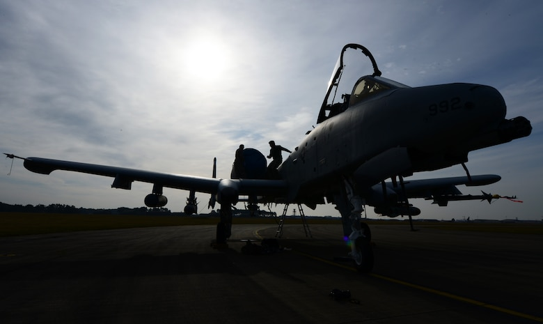 An A-10C Thunderbolt II is prepped for flight at Royal Air Force Lakenheath, England, March 13, 2015. The A-10s and 355th Fighter Wing Airmen are deployed from Davis-Monthan Air Force Base, Ariz., as part of a Theater Security Package in support of Operation Atlantic Resolve. While visiting RAF Lakenheath for five days, they conducted training alongside NATO allies to strengthen interoperability and demonstrate U.S. commitment to the security and stability of Europe. (U.S. Air Force photo by Airman 1st Class Erin R. Babis)