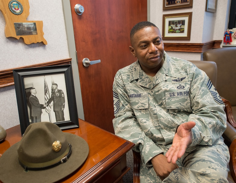Chief Master Sgt. Lorenzo Anastasie, command chief of the 116th Air Control Wing, sat down as he approached retirement to discuss his tenure and the lessons learned. (U.S. Air Force photo by Master Sgt. Roger Parsons)