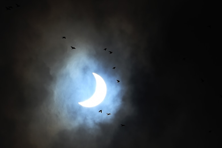 A flock of birds flies in skies above RAF Alconbury, England, at 9:55 a.m., during the final minutes of a solar eclipse, March 20, 2015. Due to cloud coverage, many UK residents were not able to witness the eclipse. (U.S. Air Force photo by Staff Sgt. Jarad A. Denton/Released)