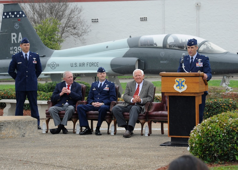 """Col. Matthew Isler, 12th Flying Training Wing commander, speaks during the wreath laying ceremony March 20 at Joint Base San Antonio-Randolph. The annual event is held in conjunction with the 42nd Freedom Flyer Reunion which honors all POWs held captive during the Vietnam War. The tradition began when members of the 560th Flying Training Squadron were given the task to retrain more than 150 POWs returning to flying status. To honor their return, their initial training included a """"freedom flight."""" The last group of POWs was released from captivity in North Vietnam March 1973. (U.S. Air Force Photo by Harold China)"""