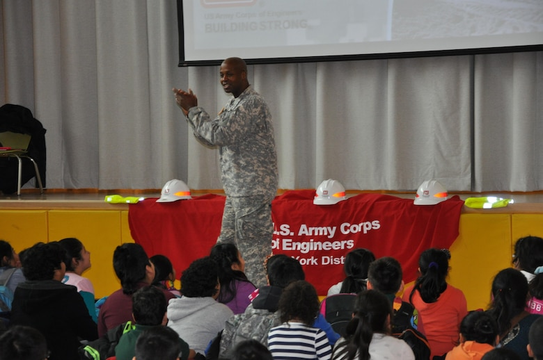 Lt. Col. John A. Knight, deputy commander, U.S. Army Corps of Engineers, New York District tells students to use their brains, listen to their parents and teachers and make the right decisions.