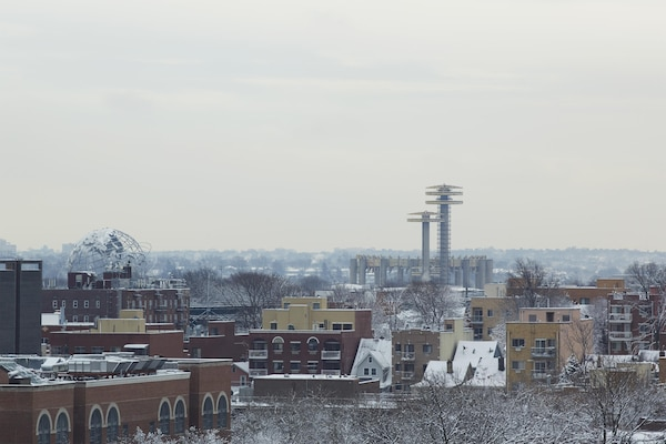 The remaining structures from the 1964 New York State World's Fair as seen from the windows of Public School 330.  The viewable structures include the Unisphere, Pavilion and observatory towers.