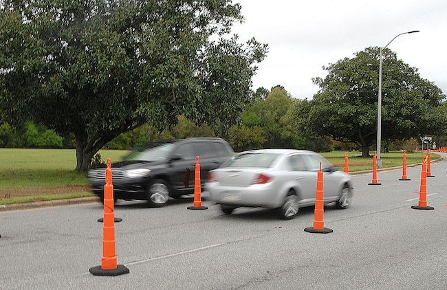Motorists entering Marine Corps Logistics Base Albany can expect major changes in traffic patterns and potential delays due to the installation of barriers for the next 30 days.