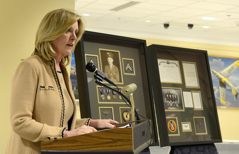 Secretary of the Air Force Deborah Lee James speaks during a ceremony held for Sen. Orrin Hatch of Utah, March 20, 2015, at the Pentagon in Washington D.C. James presented Hatch with two shadow boxes honoring the service of his brother, Cpl. Jesse Hatch, who died with his crew during a mission in World War II. Cpl. Hatch was a nose turret gunner with the 451st Bombardment Group, 725th Bomb Squadron. (U.S. Air Force photo/Scott M. Ash)
