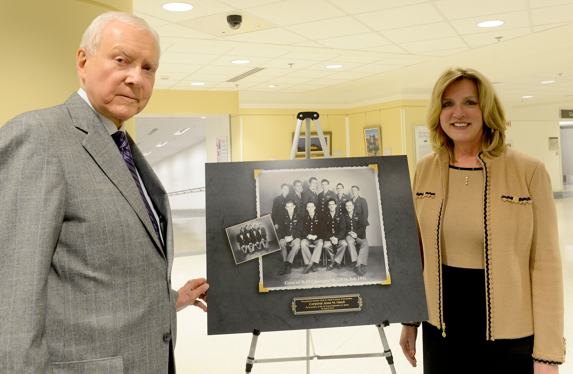 Secretary of the Air Force Deborah Lee James poses with Sen. Orrin Hatch of Utah, during a ceremony March 20, 2015, at the Pentagon in Washington D.C. James presented Hatch with two shadow boxes to honor the service of his brother, Cpl. Jesse Hatch, who died with his crew during a mission in World War II. Cpl. Hatch and his crew (pictured) were assigned to the 451st Bombardment Group, 725th Bomb Squadron. (U.S. Air Force photo/Scott M. Ash)