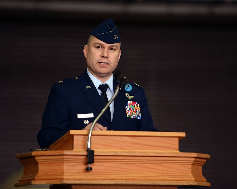 U.S. Air Force Col. William Holt, 352nd Special Operations Wing commander, speaks during the 352nd SOW activation ceremony March 23, 2015, on RAF Mildenhall, England. The 352nd SOW is comprised of more than 1,200 active-duty and civilian Airmen performing missions on MC-130J Commando II and CV-22B Osprey aircraft for AFSOC.  (U.S. Air Force photo by Senior Airman Christine Griffiths)