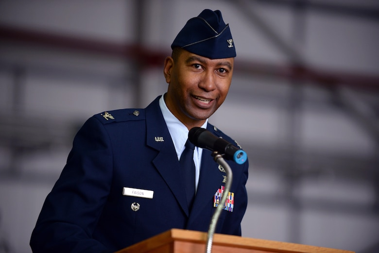 U.S. Air Force Col. Eric Faison, 352nd Special Operations Maintenance Group commander, speaks during the 352nd Special Operations Wing activation ceremony March 23, 2015, on RAF Mildenhall, England.  (U.S. Air Force photo by Senior Airman Christine Griffiths)