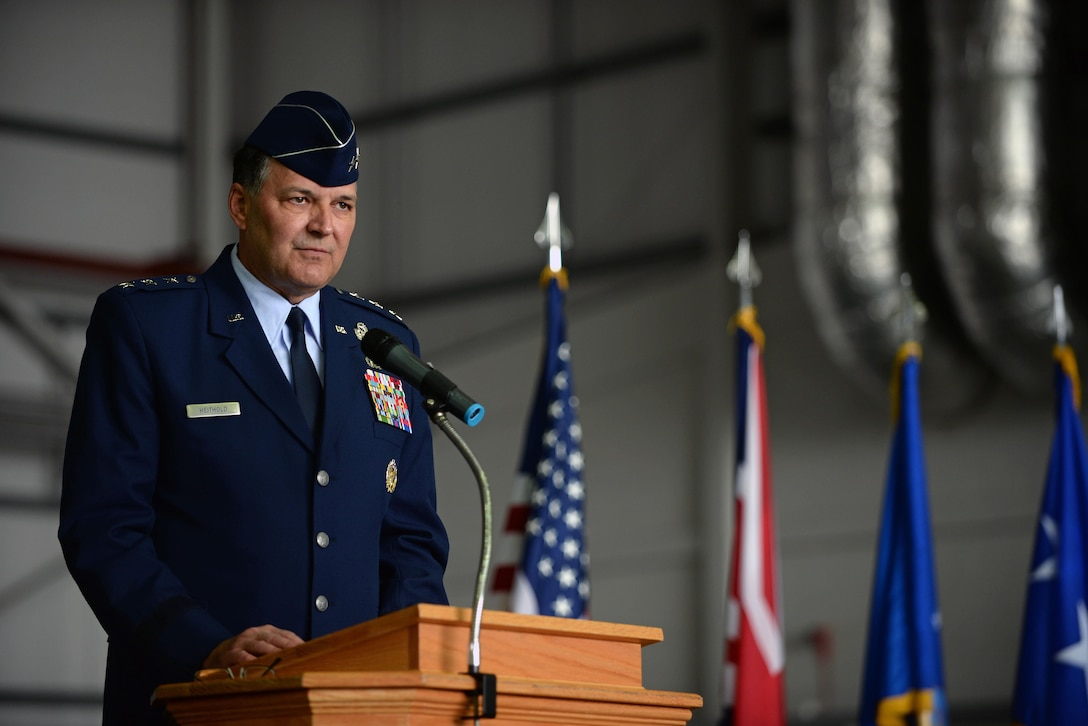 U.S. Air Force Lt. Gen. Brad A. Heithold, Air Force Special Operations Command commander, speaks during the 352nd Special Operations Wing activation ceremony March 23, 2015, on RAF Mildenhall, England. The 352nd SOW is comprised of more than 1,200 active-duty and civilian Airmen performing missions on MC-130J Commando II and CV-22B Osprey aircraft for AFSOC. (U.S. Air Force photo by Senior Airman Christine Griffiths)