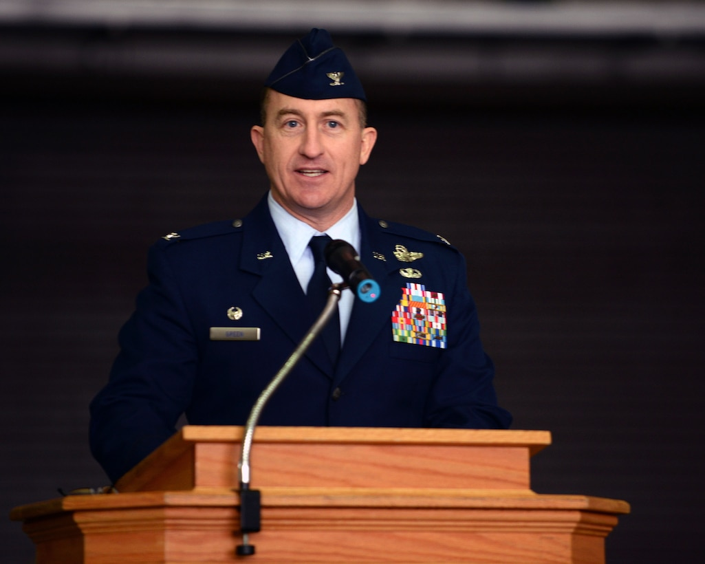 U.S. Air Force Col. Nathan Green, 752nd Special Operations Group commander, speaks during the 352nd Special Operations Wing activation ceremony March 23, 2015, on RAF Mildenhall, England. (U.S. Air Force photo by Senior Airman Christine Griffiths)