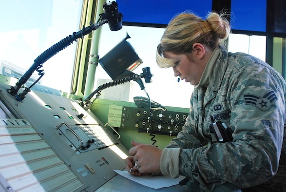 U.S. Air Force Senior Airman Laini Toten, an air traffic controller with the South Carolina Air National Guard's 245th Air Traffic Control Squadron, monitors air traffic into and out of the Georgetown County Airport during  the Vigilant Guard South Carolina exercise March 8, 2015, in Georgetown, S.C. Vigilant Guard is a series of federally funded disaster-response drills conducted by National Guard units working with federal, state and local emergency management agencies and first responders. (U.S. Army National Guard photo by Master Sgt. A.J. Coyne/Released)