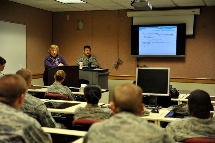 Members of Joint Base Charleston attend a healthy thinking class as part of a wingman day. Focused on a wide variety of topics offered at the Naval Weapons Station and the Air Base, Mar. 20, 2015, Wingman Day University was implemented this year. Wingman day offers Airmen and personnel several classes on resiliency t including topics such as finances, stress management, fitness, nutrition and resiliency.  (U.S. Air Force photo/Tech. Sgt. Renae Pittman)