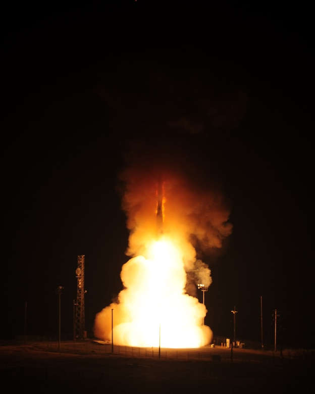An unarmed Minuteman III intercontinental ballistic missile launches at 3:36 a.m. Pacific Daylight Time, March 23, 2015, at Vandenberg Air Force Base, Calif. The missile was randomly selected from F. E. Warren AFB, Wyo. as a part of the system's operational test and evaluation program, which provides valuable data to evaluators and validates the reliability of the ICBM fleet. (U.S. Air Force photo by Joe Davila)