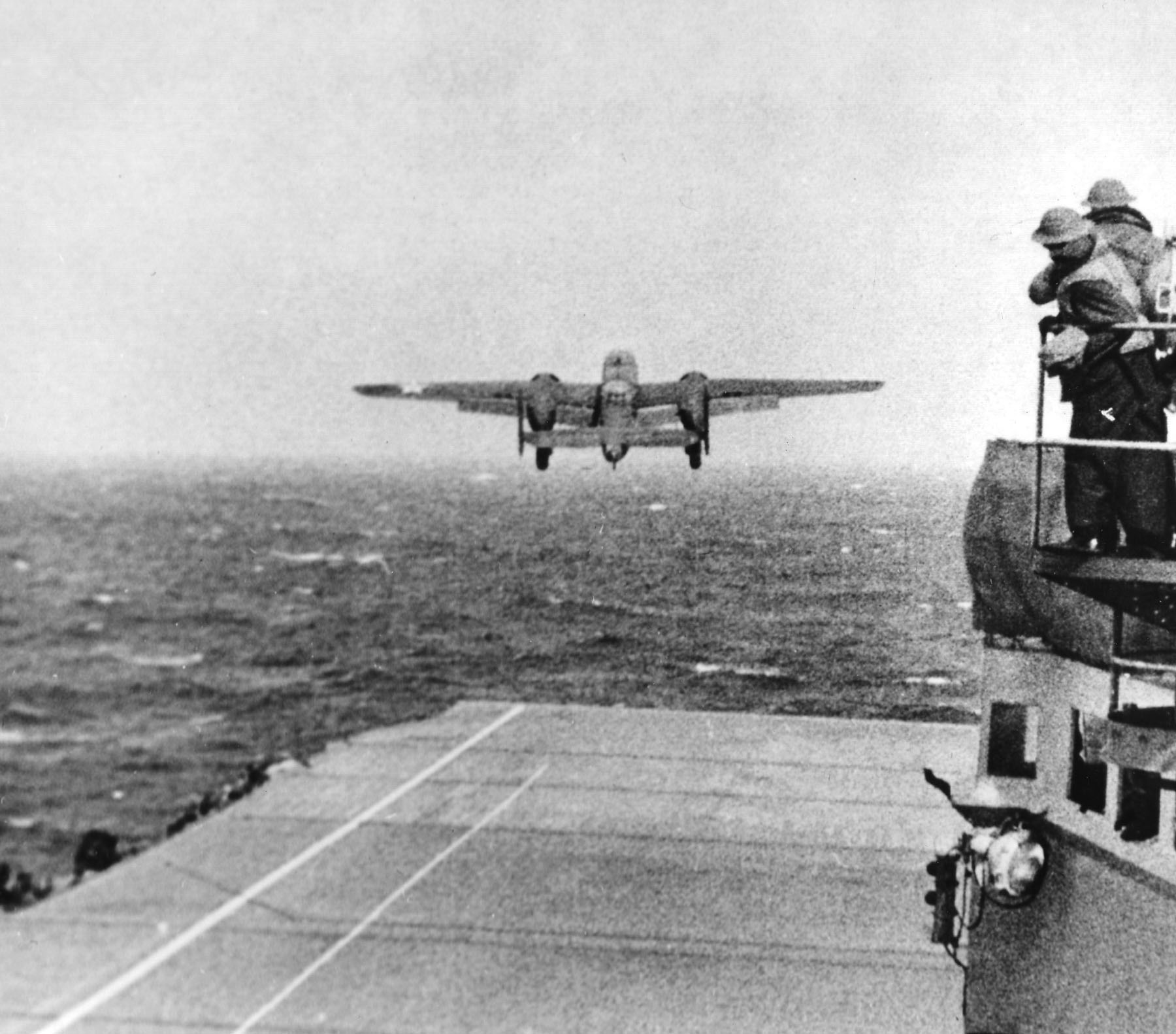 The USS Hornet had 16 U.S. Army Air Forces North American B-25B Mitchells on deck, ready for the Tokyo Raid on April 18, 1942. (U.S. Air Force photo)