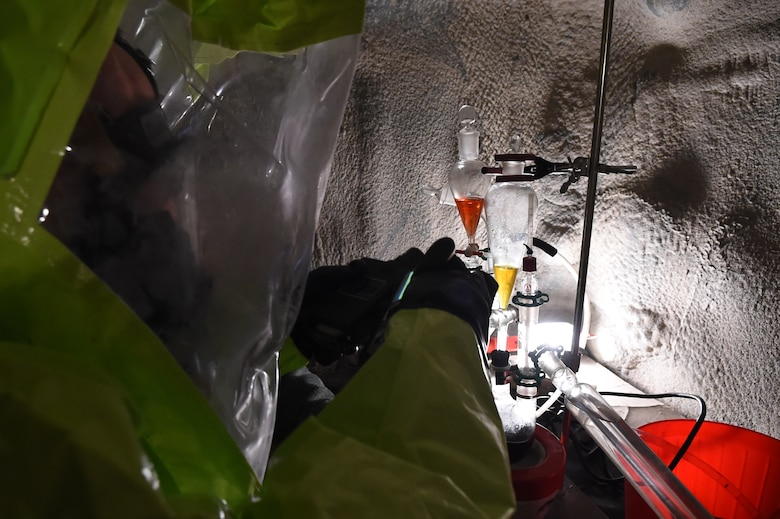 Staff Sgt. Jonathan Moroz scans a mock chemical lab for chemical agents March 17, 2015, in the Memorial Tunnel at the Center for National Response on, in Gallagher, W.Va. This training is part of the annual Black Flag exercise for first responders. Moroz is the NCO in charge of bioenvironmental training for the 779th Aerospace Medical Squadron, at Joint Base Andrews, Md. (U.S. Air Force photo/Senior Airman Joshua R. M. Dewberry)