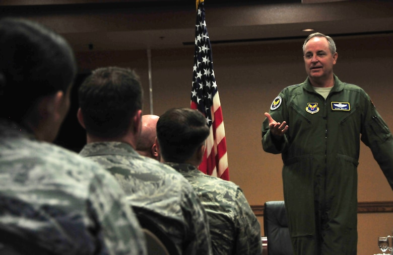 Air Force Chief of Staff Gen. Mark A. Welsh III addresses Airmen of the 161st Air Refueling Wing, during a town hall meeting March 22, 2015, at Phoenix Sky Harbor Air National Guard Base, Ariz. During the visit, Welsh interacted with Airmen and their spouses at an officer's call and mission brief. The chief of staff got a first-hand look at the KC-135 Stratotanker unit and the Airmen who make the refueling mission a success. (U.S. Air National Guard photo/Tech. Sgt. Courtney Enos)