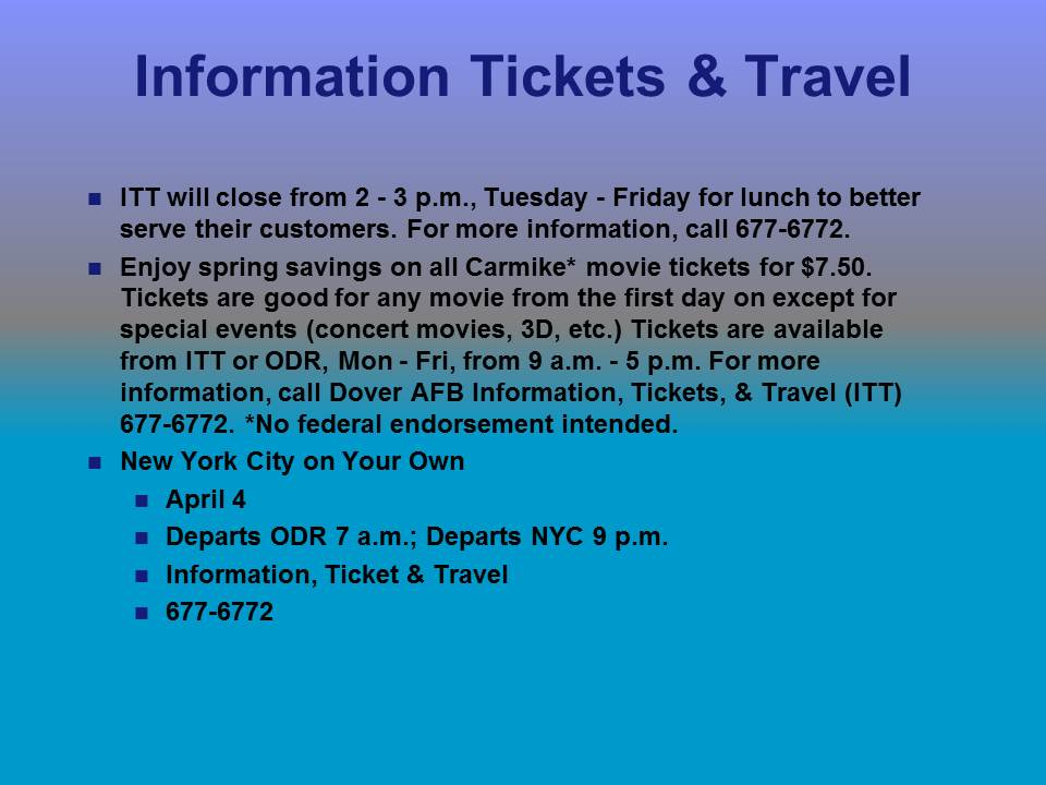 Dover Air Force Base Tickets And Travel