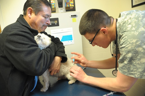 Private 1st Class Robin Cornelius, Pubic Health Command, Fort Hood, vaccinates Juan Gomez's dog, Cody, with the rabies vaccine March 9 at Joint Base San Antonio-Randolph.