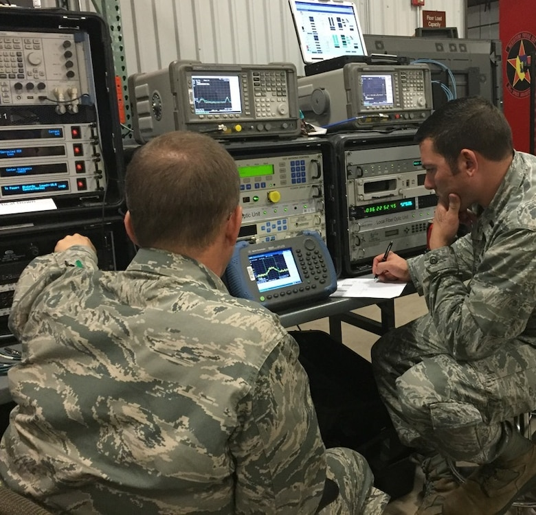 U.S. Air Force 1st Lt. Dustyn Carroll, SATCOM EA operator for the 527th Space Aggressor Squadron, supports the Navy's Theodore Roosevelt Carrier Strike Group, March 11, 2015, by refining parameters during a simulated satellite communications electronic attack exercise. The space aggressors deployed to join the 263rd Combat Communications Squadron, North Carolina Air National Guard base, Combat Operations Group, New London, N.C. Together they supported nearly 37,000 Sailors, Marines and Airmen during three U.S. Strategic Command and U.S. Navy exercises. (U.S. Air Force photo by Staff Sgt. William F. Garcia/ Released)