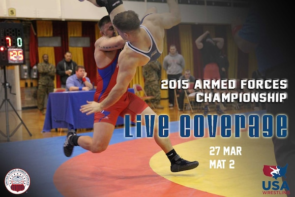 Armed Forces Championships Live - Day 1 Mat 2 Scheduled for Mar 27, 2015 Live stream of mat 2 of the 2015 Armed Forces Championships at Fort Carson in Colorado Springs, Colo. on March 27  https://www.youtube.com/watch?v=bNcjgMtSx1w