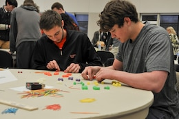 WINCHESTER, Va. - Students from local high schools make plans to construct a water tower with toothpicks and gumdrops during the U.S. Army Corps of Engineers, Middle East District's Day with an Engineer March 19 held at Lord Fairfax Community College's Middletown campus.