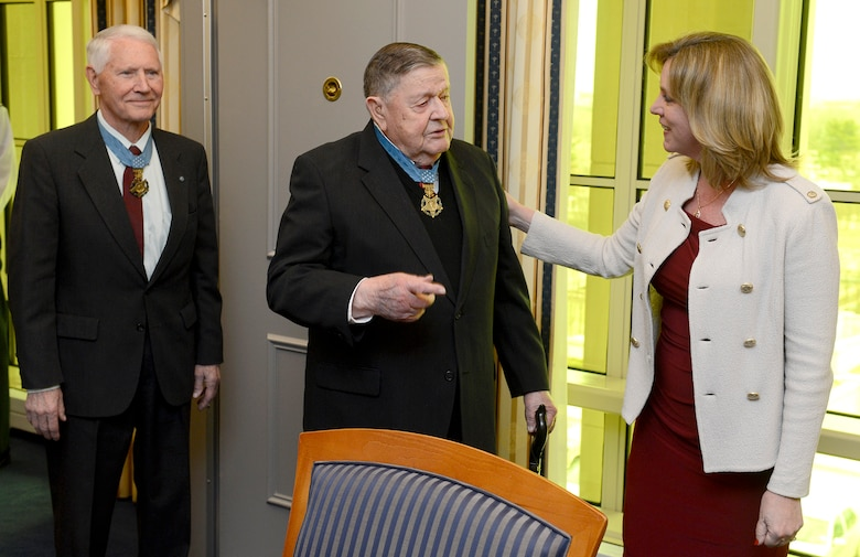 Retired Col. Joe Jackson, followed by Col. Leo Thorsness, meets Secretary of the Air Force Deborah Lee James in her office March 24, 2015, in Washington D.C.  Jackson and Thorsness, both Medal of Honor recipients, were in the Pentagon for a Q-and-A session with members of the Air Staff, hosted in the Hall of Heroes.  Jackson and Thorsness also met with Air Force Vice Chief of Staff Gen. Larry Spencer.  (U.S. Air Force photo/Scott M. Ash)