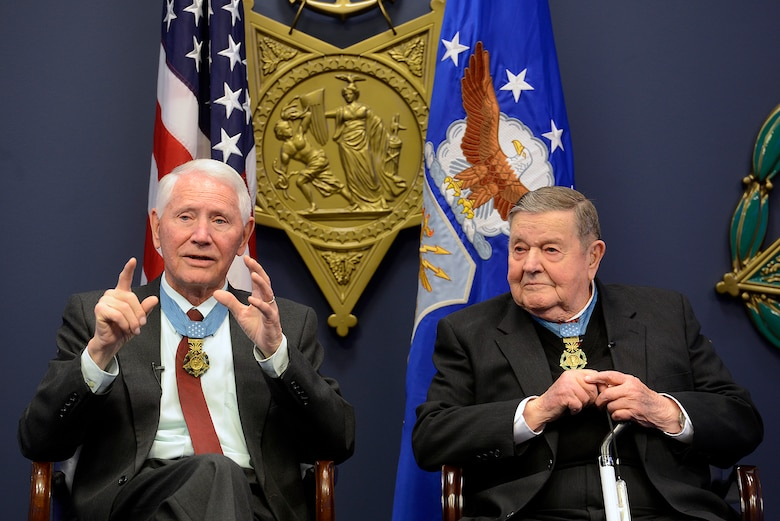 Retired Col. Leo Thorsness answers questions with retired Col. Joe Jackson, both Medals of Honor recipients, during a Q-and-A session March 24, 2015, in the Hall of Heroes at the Pentagon in Washington D.C. The pair spent about an hour taking questions from Air Staff members, and they also met with Secretary of the Air Force Deborah Lee James and Air Force Vice Chief of Staff Gen. Larry Spencer. (U.S. Air Force photo/Scott M. Ash)