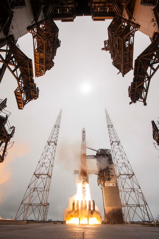 A United Launch Alliance Delta IV rocket launches the GPSIIF-9 satellite for the Air Force at 2:36 p.m. EDT March 25 from Cape Canaveral Air Force Station's Space Launch Complex-37. (Photo Courtesy of ULA)