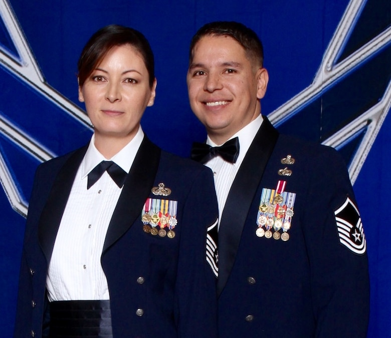 Master Sgts. Angela and Phillip Sisneros pose for a photo at the 2014 Air Force Ball in Las Vegas on Sept. 27, 2014. The couple was married on Aug. 1, 2011, but Phil was in a motorcycle accident 12 days later that would lead to his eventual medical retirement in 2014. (Photo courtesy of retired Master Sgt. Phillip Sisneros)