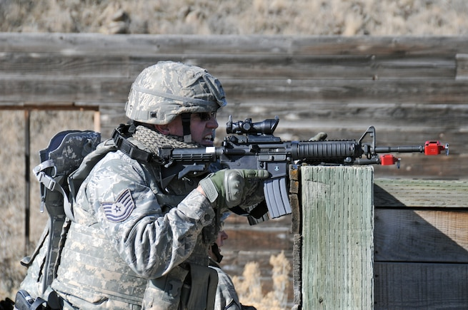 Tech. Sgt. Alan Robins, 151st Security Forces Squadron, participates in a 