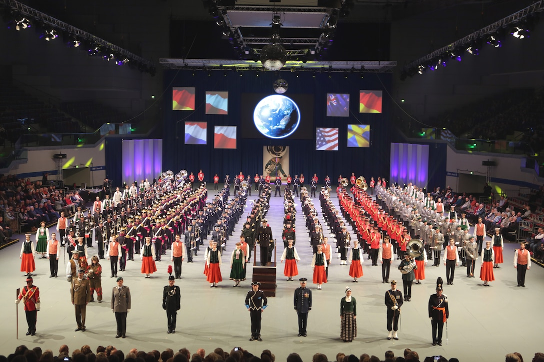 Recently the USAFE Marching Band performed at the International Musikshau in Bremmen, Germany.  The festival featured marching bands from Europe and around the globe.  The festival featured bands from Germany, Lativa, Netherlands, New Zealand, and Sweden.