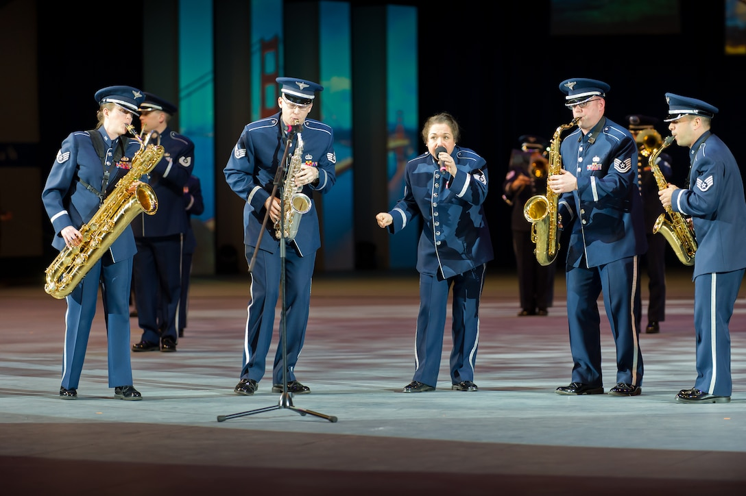 Recently the USAFE Marching Band performed at the International Musikshau in Bremmen, Germany.  (Left to Right Technical Sergeant Chantelle Friedman, Staff Sergeant Nathan Heald, Master Sergeant Michele Harris, Technical Sergeant Jeremy Nee, and Staff Sergeant Lencys Esteban-Nunez).