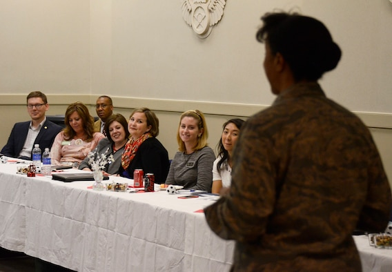 Maj. Gen. Stayce Harris, 22nd Air Force commander, leads a discussion to 21 members of Leadership Cobb at Dobbins Air Reserve Base, Ga. March 25, 2015. Leadership Cobb develops leadership skills and knowledge through its programs and retreats. Participants are introduced to a variety of viewpoints that illustrate the array of economic, political, educational and social factors at work in Cobb County. Sessions combine lectures and dialogue among speakers as well as audience interaction with leaders in all facets of the community.