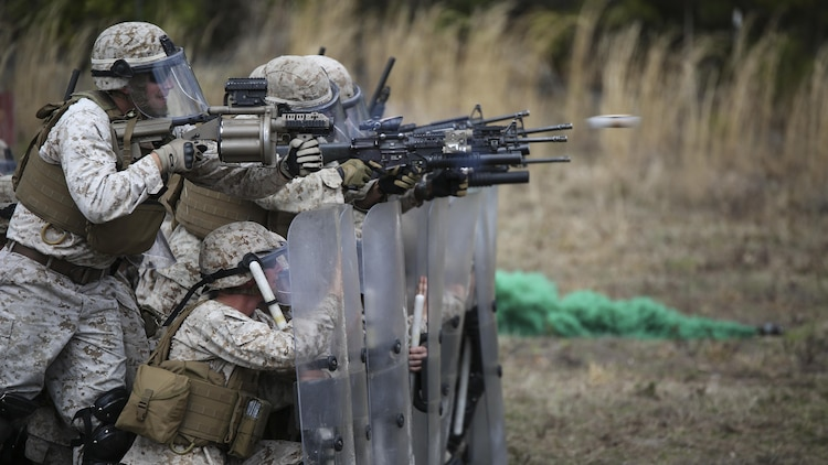 Marines with Battery and Golf Co., 2nd Battalion, 6th Marines, fire their M203 and M32 grenade launchers with non-lethal rounds down range during a riot control exercise aboard Camp Lejeune, N.C., March 24, 2015. The Marines marched in formation through multiple mock rioters, encountering flash bang grenades and smoke bombs while using their shields as a stable line of defense.