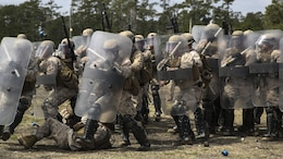 Marines with Battery and Golf Co., 2nd Battalion, 6th Marines, capture a role-playing enemy within the confines of their shields during a riot control exercise aboard Camp Lejeune, N.C., March 24, 2015. The Marines moved swiftly to pull the enemy back through their formation, then closed back up in a defensive position as one straight line of shields.