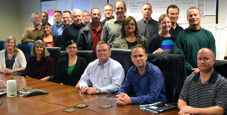 Members of the Air Reserve Personnel Center gather for a group photo during an off-site conference to prepare the new 2015 Strategic Plan, Dec. 10-11, 2014. (U.S. Air Force photo/Lt. Col. Belinda Petersen)