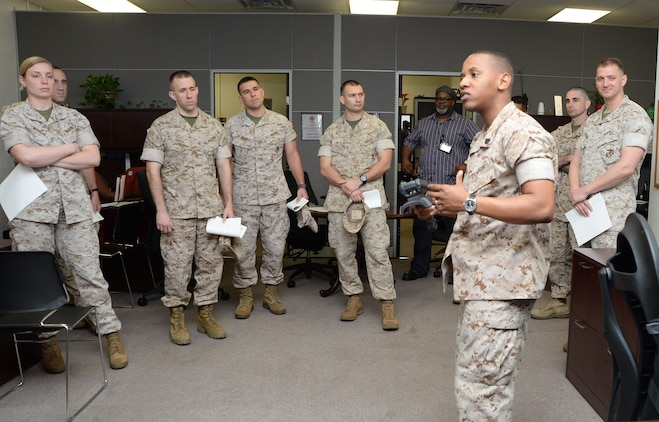 Expeditionary Warfare School students tour the Marine Depot Maintenance Command during a visit to Marine Corps Logistics Base Albany, March 24-26, as part of their school curriculum.