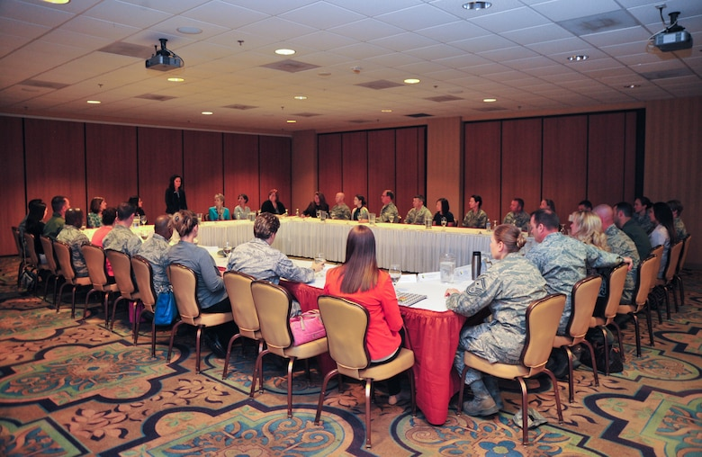 Betty Welsh, wife of Air Force Chief of Staff Gen. Mark A. Welsh III, discusses the importance of key spouses with commanders, first sergeants and spouses at Davis-Monthan Air Force Base, Ariz., March 25, 2015. Welsh thanked Airmen for their continued service and dedication and addressed issues concerning Airmen and their families. (U.S. Air Force photo by Chris Massey/released)
